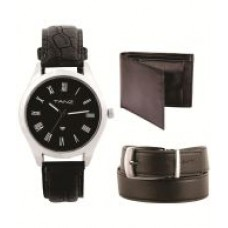 Deals, Discounts & Offers on Men - Tanz Black Analog Watch With Wallet and Black Belt