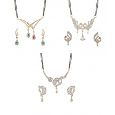 Deals, Discounts & Offers on Earings and Necklace - YouBella American Diamond Mangalsutra & Earrings - Set of 3