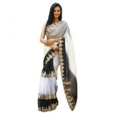 Deals, Discounts & Offers on Women Clothing - Rasika Vogue Black Cream Embroidered Saree