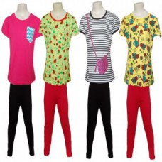 Deals, Discounts & Offers on Women Clothing - Combo of 4 t-shirts & 2 legging for Girls
