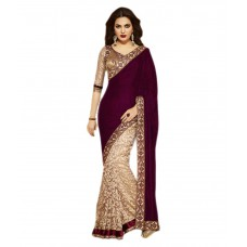 Deals, Discounts & Offers on Women Clothing - GLANCE STORE Maroon Velvet Saree