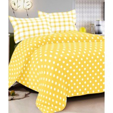 Deals, Discounts & Offers on Home Appliances - Vintana Yellow Cotton Double Bedsheet With 2 Pillow Cover