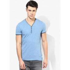 Deals, Discounts & Offers on Men Clothing - Tom Tailor Blue Solid Henley T-Shirt