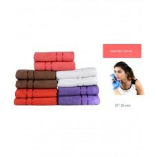 Deals, Discounts & Offers on Home Appliances - Towel Town Multicolour Plain Cotton Face Towel - Set of 10