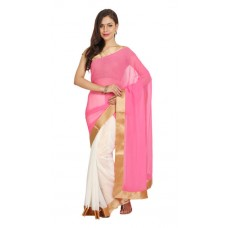 Deals, Discounts & Offers on Women Clothing - Parchayee Pink Georgette Saree
