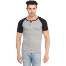 Deals, Discounts & Offers on Men Clothing - Leana Grey-Black Half Henley Men Tshirt