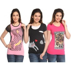 Deals, Discounts & Offers on Women Clothing - Maatra Printed Women's Round Neck T-Shirt
