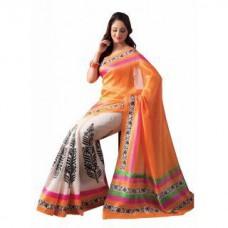 Deals, Discounts & Offers on Women Clothing - Parchayee Printed OrangeWhite Mangalgiri Poly Cotton Saree
