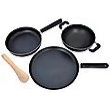 Deals, Discounts & Offers on Home & Kitchen - Nirlon 3 Pcs Black Non Stick Cookware Set