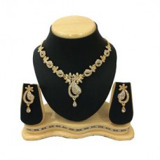 Deals, Discounts & Offers on Earings and Necklace - Shriya Gold Plated Diamond Look Nacklace Set
