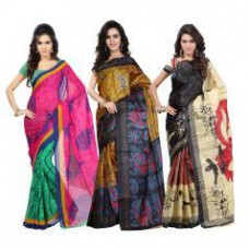 Deals, Discounts & Offers on Women Clothing - Flat 69% off on Combo Of 3 Saree