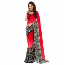 Deals, Discounts & Offers on Women Clothing - Flat 60% off on Jaanvi Fashion Red Chiffon Saree