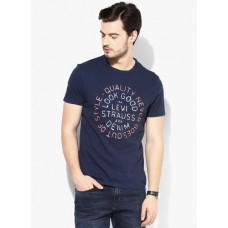 Deals, Discounts & Offers on Men Clothing - Levi's Navy Blue Graphic Regular Fit Round Neck T-Shirt