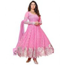 Deals, Discounts & Offers on Women Clothing - Mahalaxmi Fashion Pink Georgette Anarkali Semi Stitched Dress Material