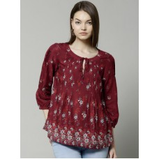 Deals, Discounts & Offers on Women Clothing - Marks & Spencer Casual 3/4 Sleeve Printed Women's Top