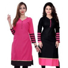 Deals, Discounts & Offers on Women Clothing - Flat 68% off on Stylum Black And Pink Cotton Kurti Combo