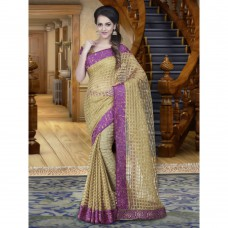 Deals, Discounts & Offers on Women Clothing - Shonaya Beige Colour Jacquard Printed Saree With Unstitched Blouse Piece