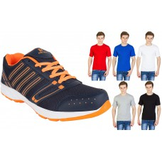 Deals, Discounts & Offers on Men Clothing - Aero Gold Combo Of Sports Shoes With Cotton 5 T Shirts