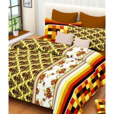 Deals, Discounts & Offers on Home Appliances - Always Plus Green & Brown Printed Cotton Double Bedsheet with 2 Pillow Covers