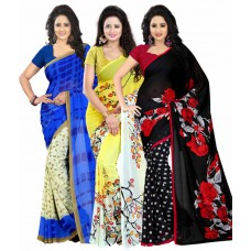 Deals, Discounts & Offers on Women Clothing - Heena Multicolour Georgette Pack of 3