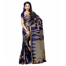 Deals, Discounts & Offers on Women Clothing - Mimosa Navy Tussar Silk Saree