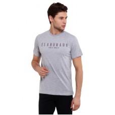 Deals, Discounts & Offers on Men Clothing - Elaborado Men Grey Melange Printed Tshirt