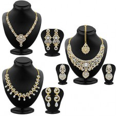 Deals, Discounts & Offers on Earings and Necklace - Sukkhi Glamorous Gold Plated AD Neckalce Sets Combo