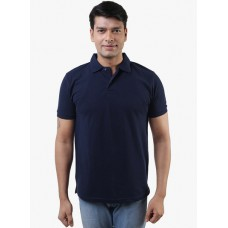 Deals, Discounts & Offers on Men Clothing - Flat 60% off on Navy Blue Solid Polo T-Shirt