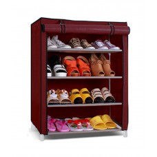 Deals, Discounts & Offers on Furniture - Pindia Fancy & Portable 4 Layer Maroon Foldable Shoe Rack Organizer