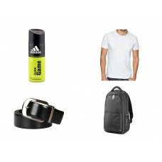Deals, Discounts & Offers on Men - Combo of Tshirt,Belt ,Laptop Bag and Adidas Pure Game Deo