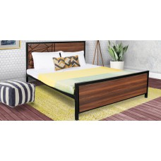 Deals, Discounts & Offers on Furniture - Chester Queen Size Bed in Black & Dark Walnut Colour by Inscape Design