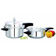 Deals, Discounts & Offers on Cookware - Mahavir 5 L Outer Lid Aluminium Pressure Cooker & 3 L Pressure Pan Combo