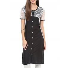 Deals, Discounts & Offers on Women Clothing - Black cotton kurta For women
