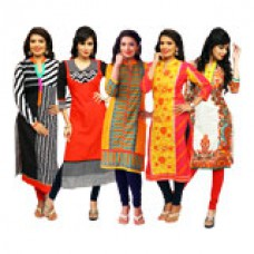 Deals, Discounts & Offers on Women Clothing - Colours Rajasthan PO5 Cotton Printed Kurta