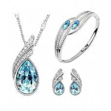 Deals, Discounts & Offers on Earings and Necklace - Cyan Ocean Blue Austrian of Crystal Pendant With Earrings And Bracelet