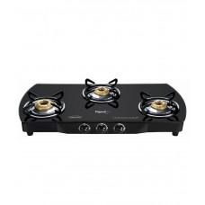 Deals, Discounts & Offers on Home Appliances - Pigeon Brass Black 3 Burner Glass Top