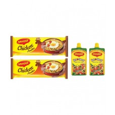 Deals, Discounts & Offers on Food and Health - Maggi Chicken Noodles + Maggi Hot & Sweet Pichkoo - Pack of 2
