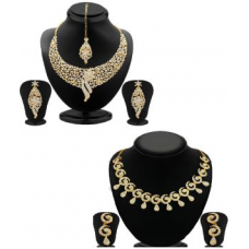 Deals, Discounts & Offers on Earings and Necklace - Buy 1 Atasi Sleek Gold Plated Ad Stone Necklace Set And Get 1 Glimmery Gold Plated Ad Stone Necklace Set