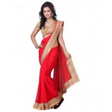 Deals, Discounts & Offers on Women Clothing - Aai Shree Khodiyar Art Red Faux Chiffon Saree
