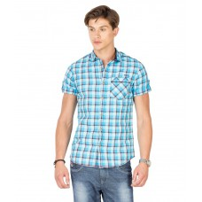 Deals, Discounts & Offers on Men Clothing - Mufti Blue Cotton Casual Shirt