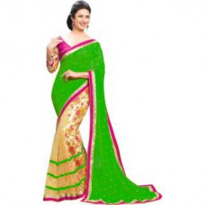 Deals, Discounts & Offers on Women Clothing - New Collection Designer Fancy Green Sari