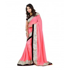 Deals, Discounts & Offers on Women Clothing - Khatu Shyam Pink Georgette Saree