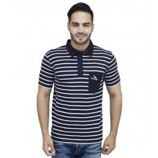 Deals, Discounts & Offers on Men Clothing - Pro Lapes Navy Blue Striped Half Sleeves Polo T-shirt