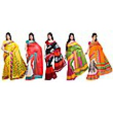 Deals, Discounts & Offers on Women Clothing - Ishin Combo Of 5 Bhagalpuri Silk Sarees