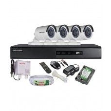 Deals, Discounts & Offers on Electronics - Hikvision Combo Of Turbo 4ch Dvr, 4 Turbo Bullet Irp Cctv Camera, 1tb Hdd, Active Cable & Active Power Supply