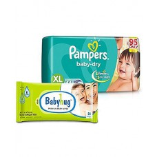 Deals, Discounts & Offers on Baby Care - Pampers Baby Dry Diaper Extra Large - 5 Pieces with Babyhug Premium Baby Wipes