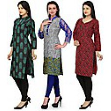 Deals, Discounts & Offers on Men Clothing - Combo Of 3 Multicolour Printed Women Kurtis