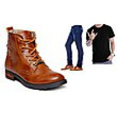 Deals, Discounts & Offers on Men Clothing - Combo Of Bacca Bucci Boots With 1 T-Shirt And 1 Jeans