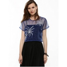 Deals, Discounts & Offers on Women Clothing - KOOVS Lurex Palm Tree Organza Top