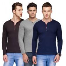 Deals, Discounts & Offers on Men Clothing - Tsx Mens Set Of 3 Multicolor Cotton T-shirt